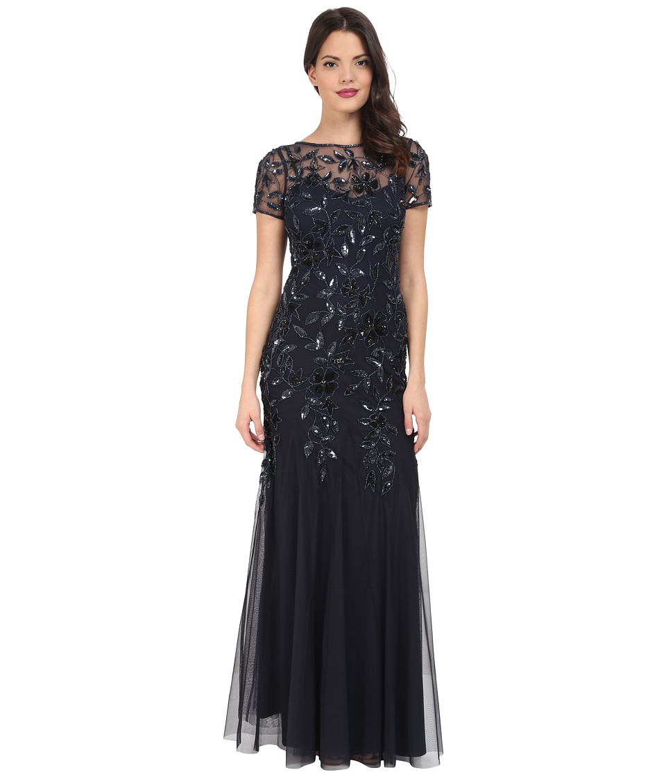 Adrianna Papell - Floral Beaded Godet Gown (Twilight) Women's Dress