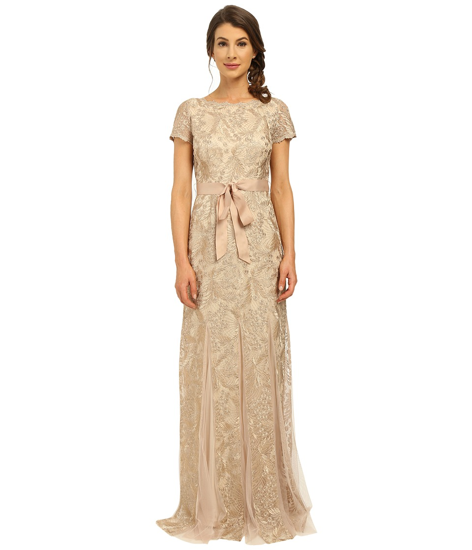 Adrianna Papell - Metallic Embellished Gown with Godets (Rose Gold) Women's Dress