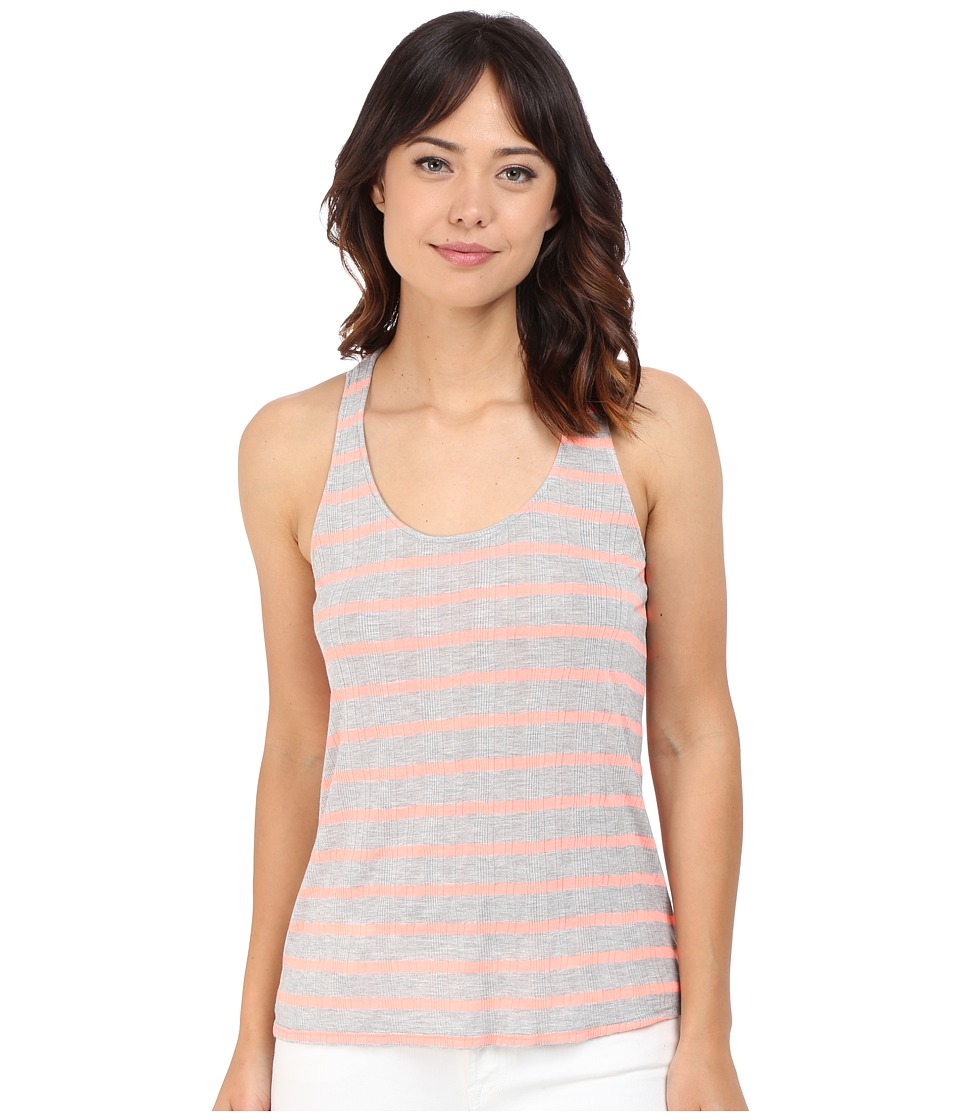 Splendid - Huntington Stripe Rib Tank Top (Heather Grey/Sunkissed Pink) Women's Sleeveless