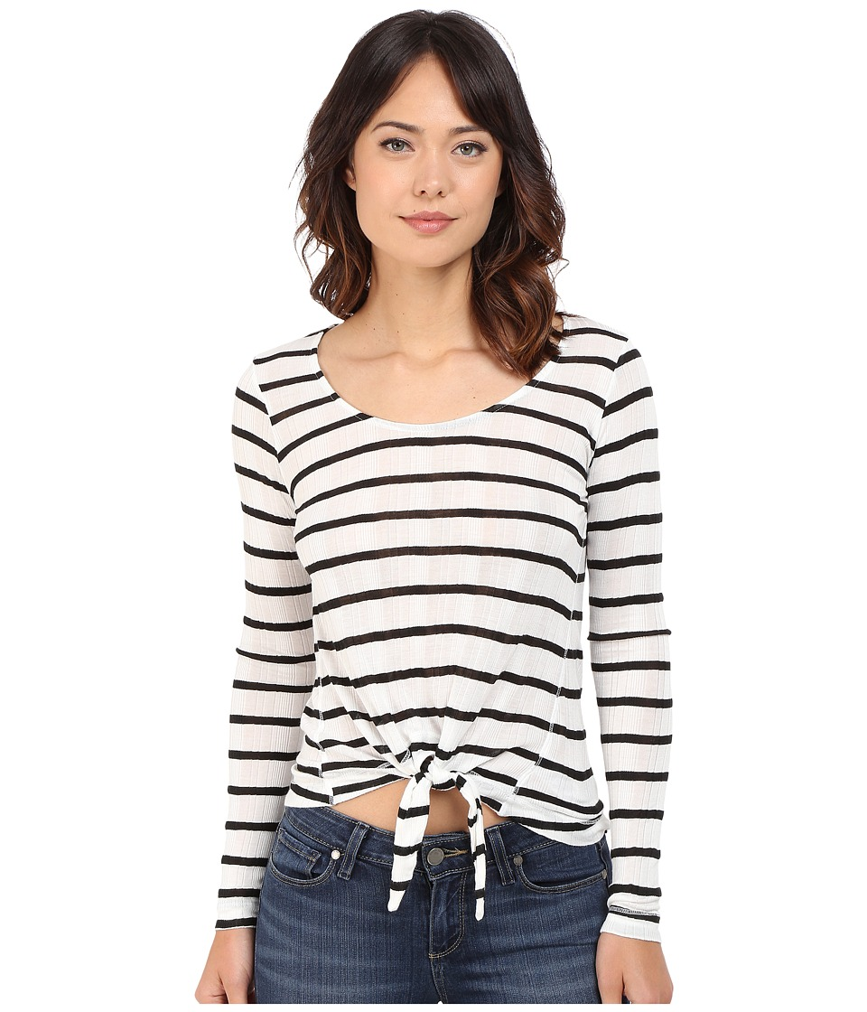 Splendid Huntington Stripe Rib Long Sleeve (White/Black) Women's Clothing