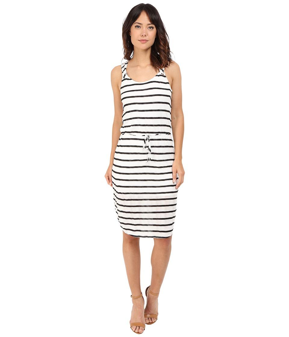 Splendid Huntington Stripe Rib Dress (White/Black) Women