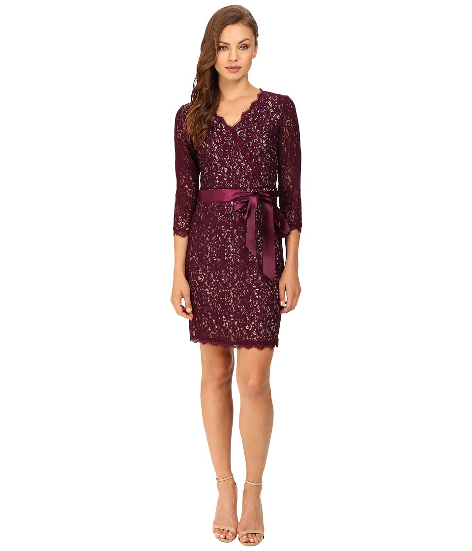 Adrianna Papell - Long Sleeve Wrap Front Lace Cocktail Dress (Mulberry Nude) Women's Dress