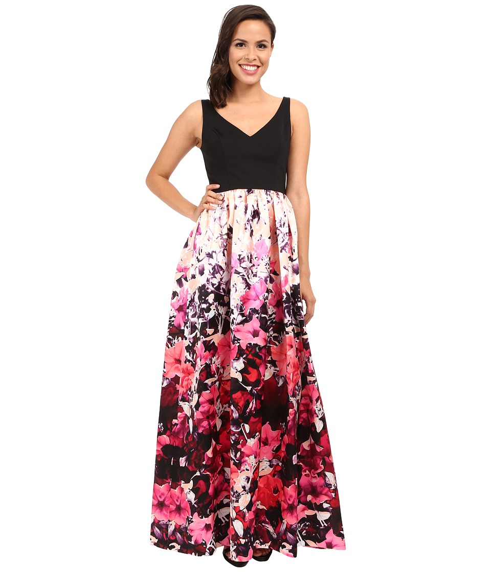 Adrianna Papell - Deep-V Printed Floral Mikado Dress (Pink Multi) Women's Dress