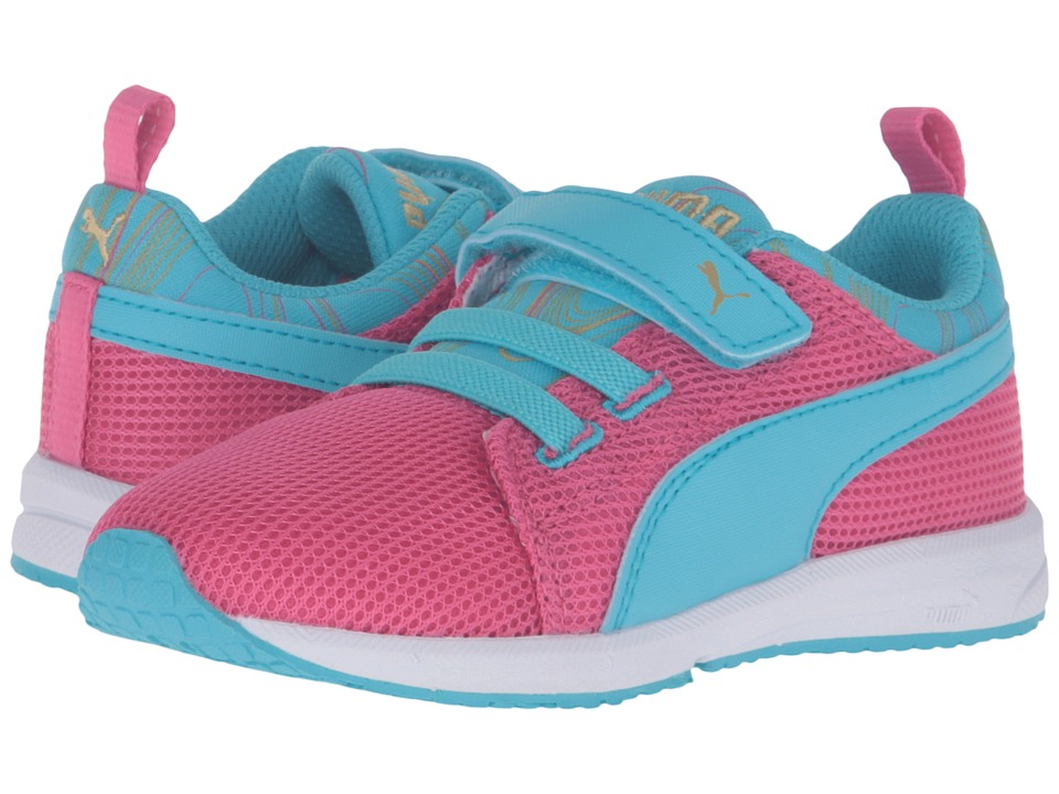 Puma Kids Carson Runner Marble V Inf (Toddler) (Fandango Pink/Blue Atoll) Girls Shoes