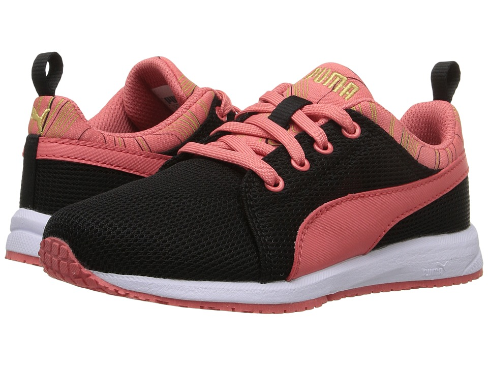 Puma Kids - Carson Runner Marble PS (Little Kid/Big Kid) (Puma Black/Porcelain Rose) Girls Shoes