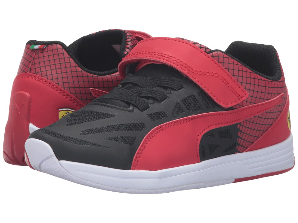 Puma Kids - evoSPEED SF Hook-and-Loop PS (Little Kid/Big Kid) (Puma Black/Rosso Corsa) Boys Shoes
