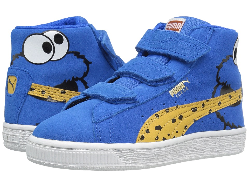 Puma Kids Suede Mid Sesame Cookie Monster V PS (Little Kid/Big Kid) (Electric Blue Lemonade/Bright Gold) Boys Shoes