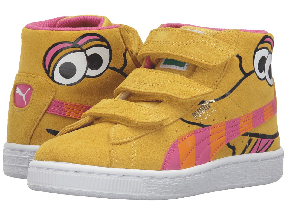 Puma Kids - Suede Mid Sesame Big Bird V PS (Little Kid/Big Kid) (Dandelion/Fandango Pink) Girls Shoes