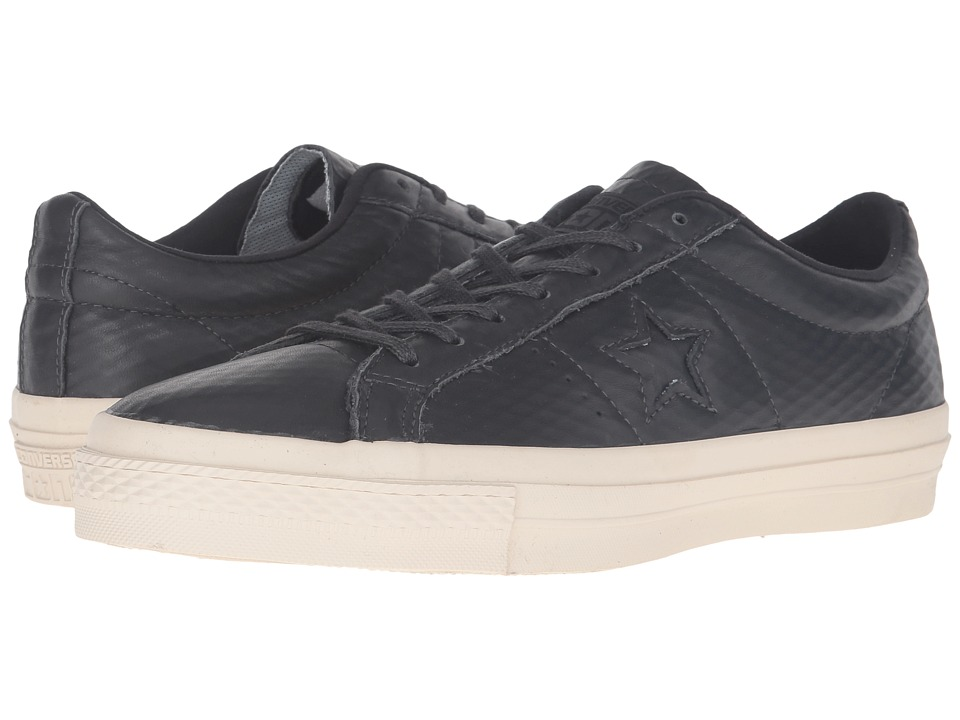 Converse Skate - One Star(r) Mesh Backed Leather Ox (Almost Black/Black/Parchment) Lace up casual Shoes