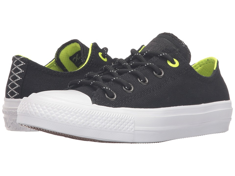 Converse Kids - Chuck Taylor All Star II Ox (Big Kid) (Black/Volt/White) Boy's Shoes