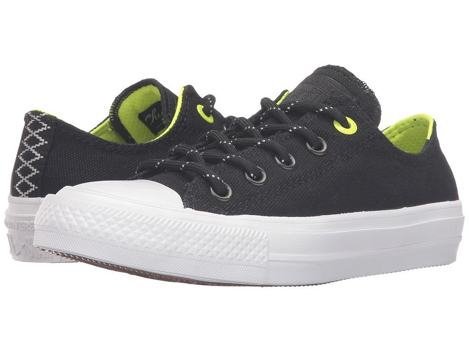 Converse Kids - Chuck Taylor All Star II Ox (Big Kid) (Black/Volt/White) Boy's Shoes