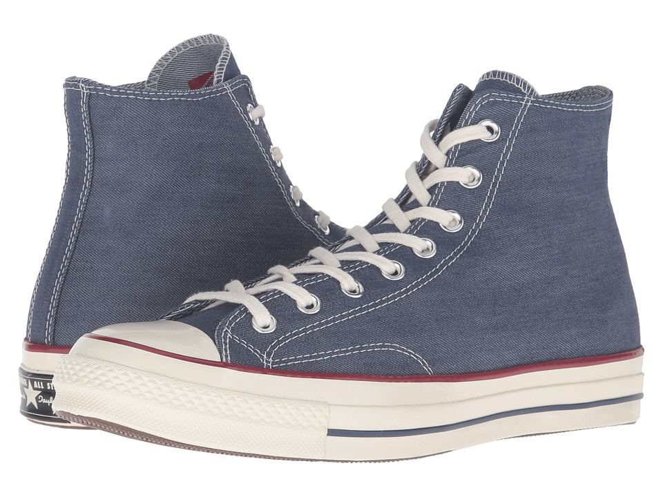 Converse - Chuck Taylor All Star '70 Denim Hi (Insignia Blue/Garnet/Egret) Lace up casual Shoes