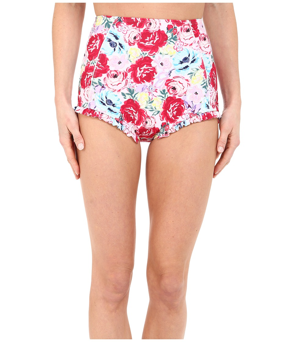 Unique Vintage - Ruffle Bette High Waist Bikini Bottom (Floral) Women's Swimwear