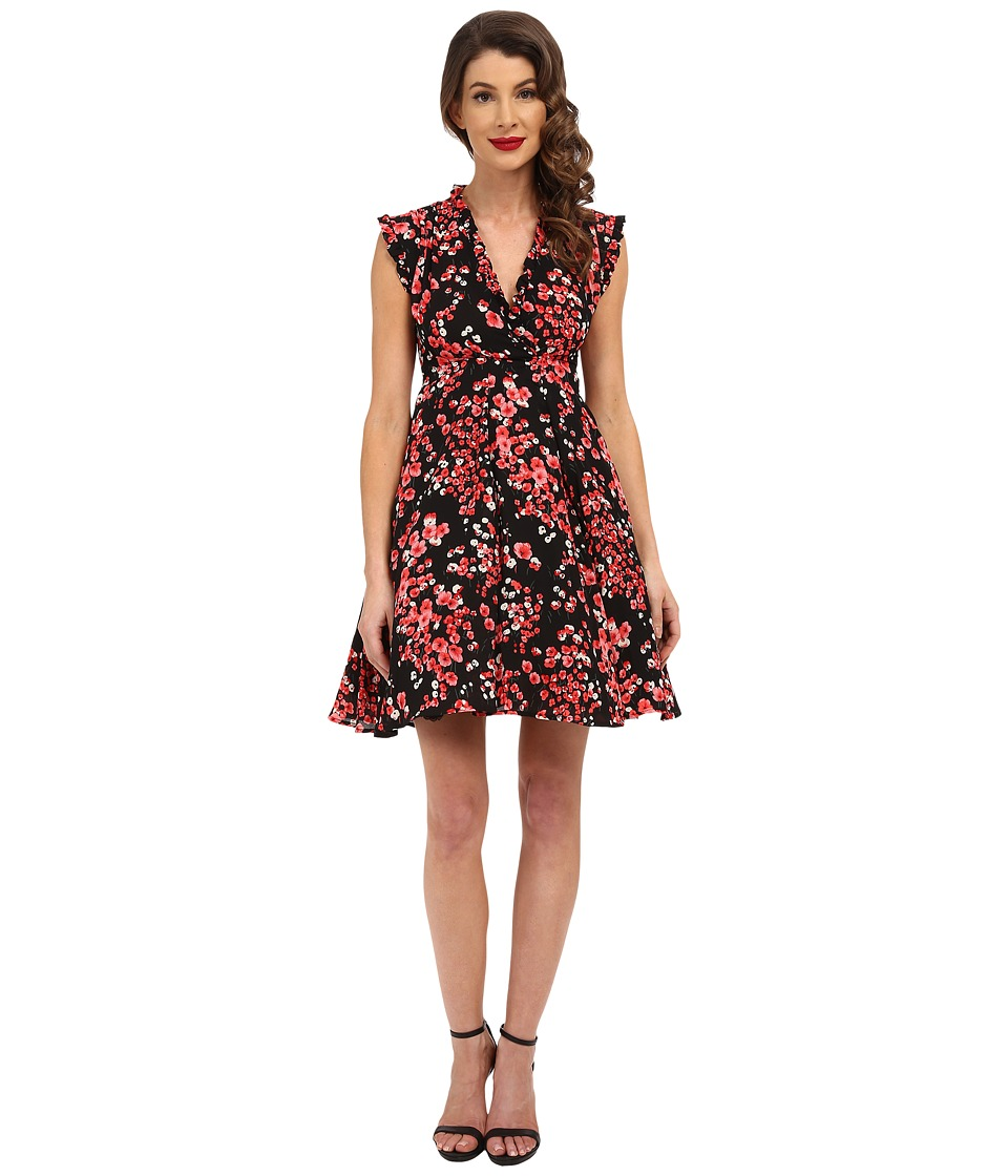 Unique Vintage - Cherry Blossom Fit Flare Dress (Floral Print) Women's Dress