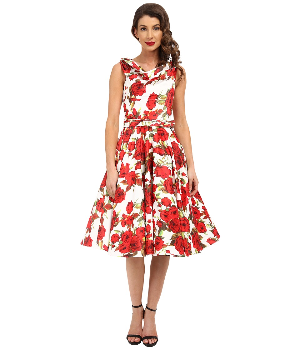 Unique Vintage - Fleur Swing Dress (Ivory Floral) Women's Dress