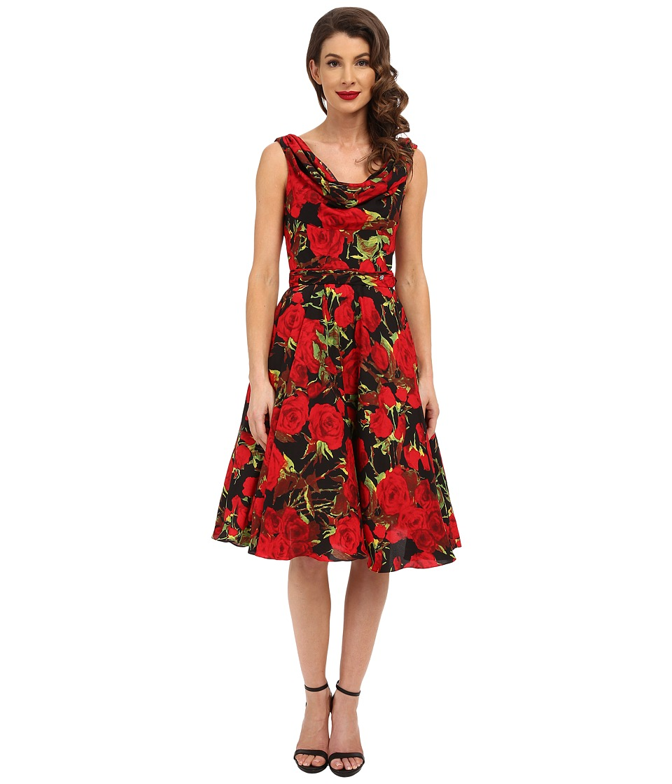 Unique Vintage - Fleur Swing Dress (Black Floral) Women's Dress