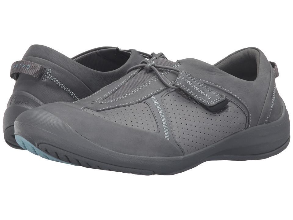 Clarks - Asney Slip-On (Grey Nubuck) Women's Slip on Shoes
