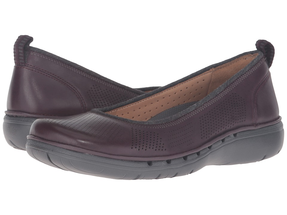 Clarks - Un Elita (Aubergine Leather) Women's Wedge Shoes