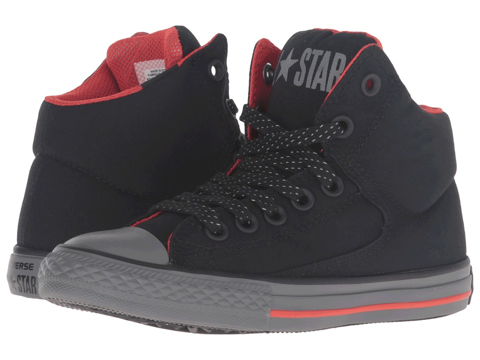Converse Kids - Chuck Taylor All Star High Street (Little Kid/Big Kid) (Black/Signal Red/Thunder) Boy's Shoes