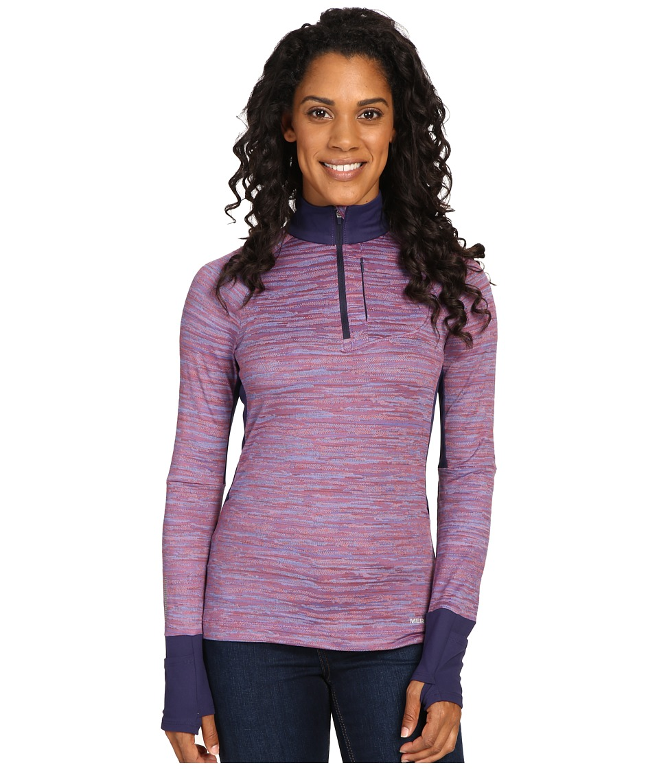 Merrell - Roam Wild 1/2 Zip Tech Top (Poppy Melange) Women's Long Sleeve Pullover