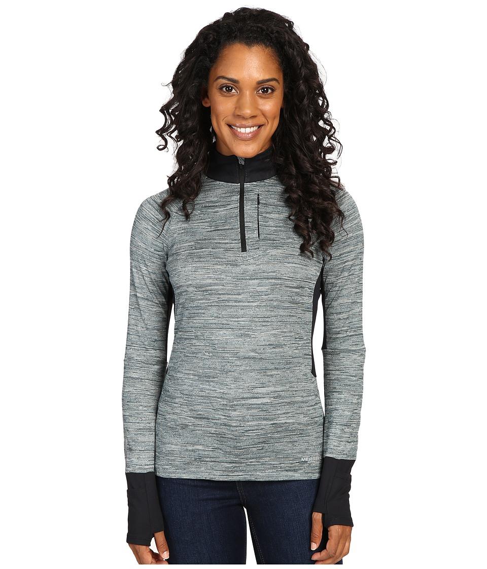 Merrell - Roam Wild 1/2 Zip Tech Top (Black Melange) Women's Long Sleeve Pullover