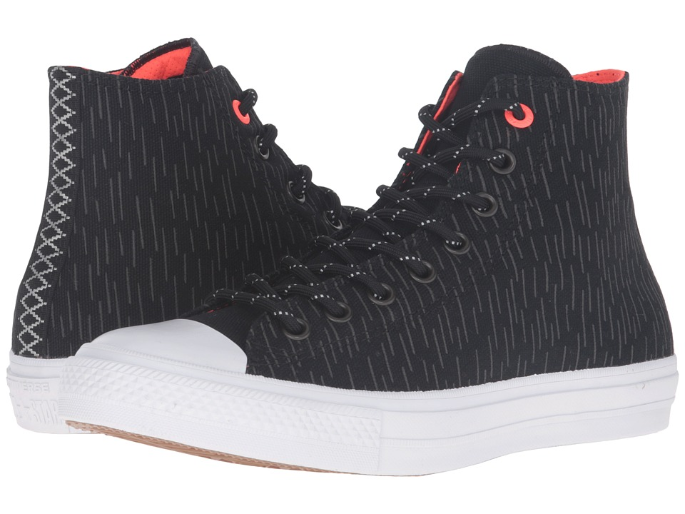 Converse - Chuck Taylor All Star II Shield Canvas Hi (Black/Reflective/Lava) Lace up casual Shoes