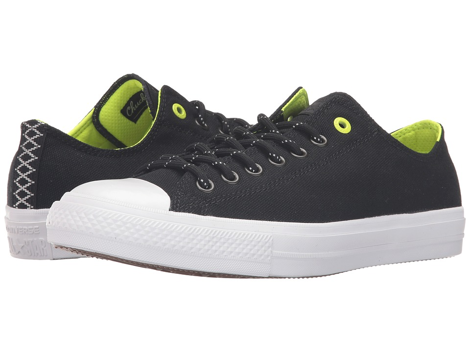 Converse - Chuck Taylor All Star II Shield Canvas Ox (Black/Volt/White) Lace up casual Shoes