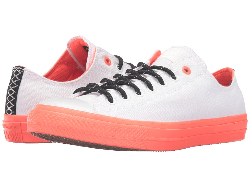 Converse - Chuck Taylor All Star II Shield Canvas Ox (White/Lava/Gum) Lace up casual Shoes