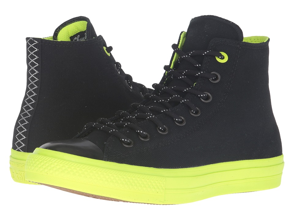 Converse - Chuck Taylor All Star II Shield Canvas Hi (Black/Volt/Gum) Lace up casual Shoes