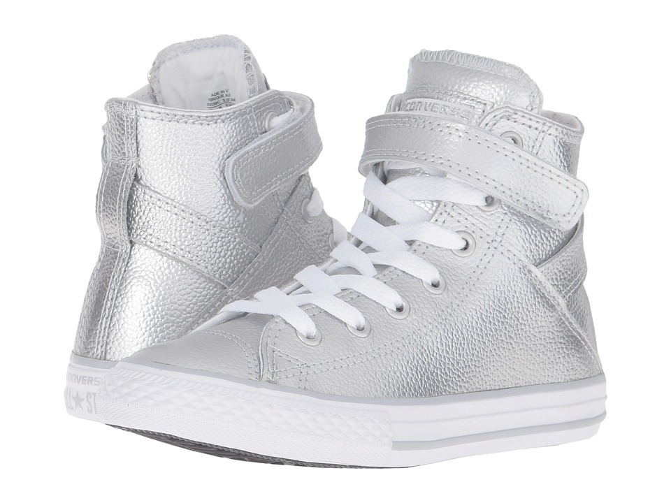 Converse Kids - Chuck Taylor All Star Brea (Little Kid) (Pure Silver/White/White) Girl's Shoes