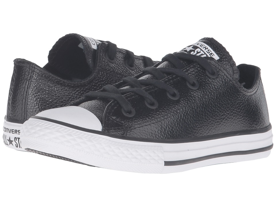 Converse Kids Converse Kids Chuck Taylor All Star Ox Metallic Leather (Little Kid) (Black/White/Black) Girls Shoes