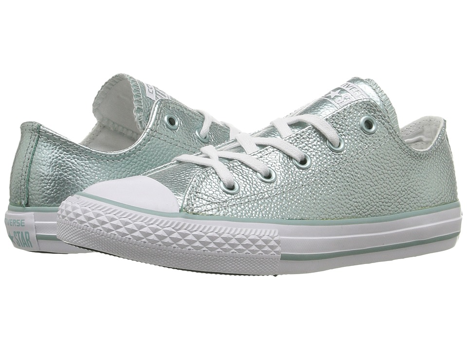 Converse Kids - Converse Kids - Chuck Taylor All Star Ox Metallic Leather (Little Kid) (Metallic Glacier/White/White) Girls Shoes