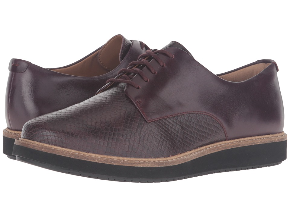 Clarks - Glick Darby (Aubergine Leather Combo) Women's Shoes