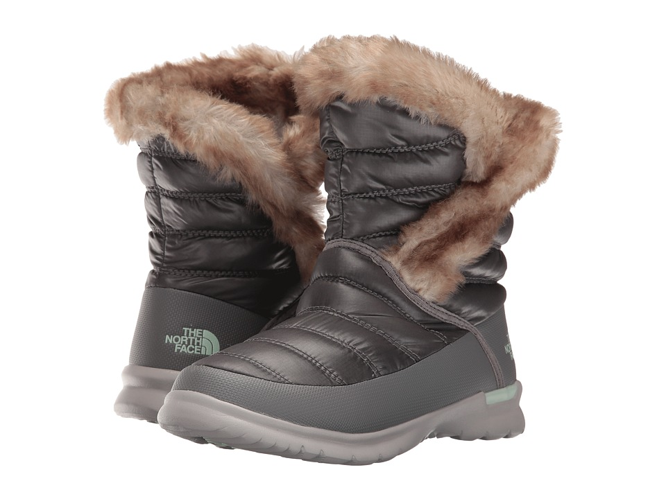 The North Face - ThermoBall Microbaffle Bootie II (Shiny Smoked Pearl Grey/Subtle Green) Women's Pull-on Boots
