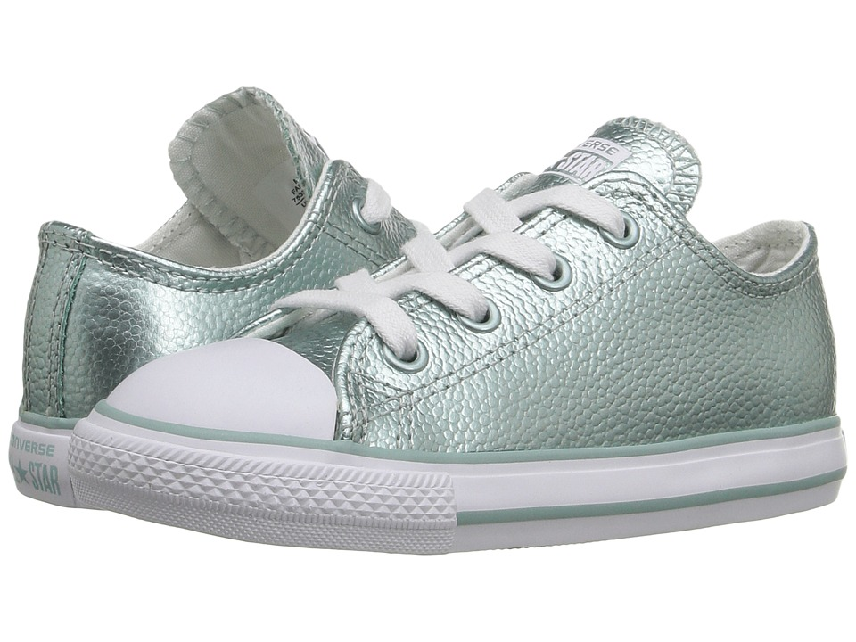 Converse Kids - Chuck Taylor All Star Ox (Infant/Toddler) (Metallic Glacier/White/White) Girls Shoes