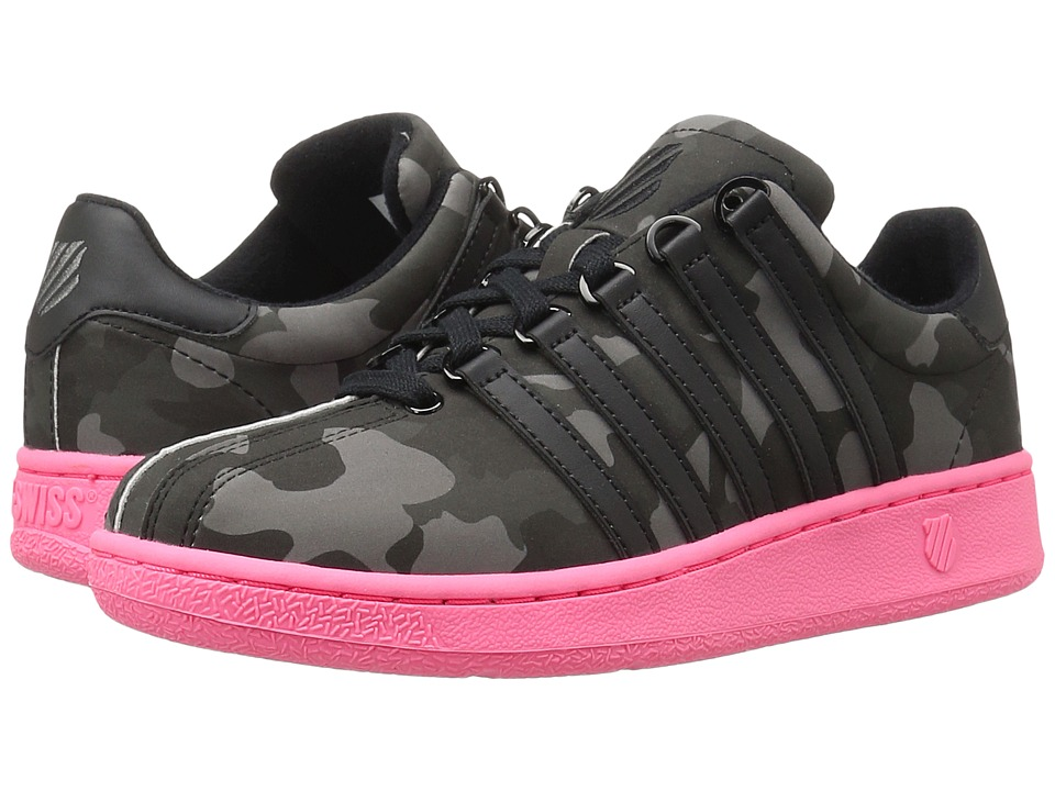 K-Swiss - Classic VN Camo Glam (Black/Pewter/Neon Red Leather) Women's Lace up casual Shoes