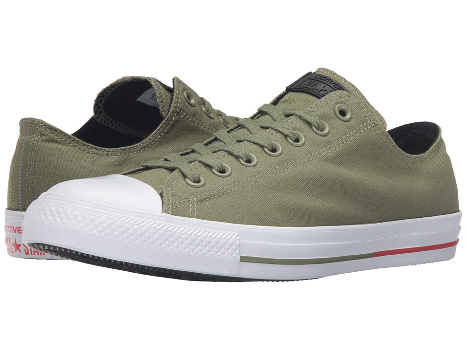 Converse - Chuck Taylor All Star Shield Canvas Ox (Fatigue Green/White/Signal Red) Lace up casual Shoes
