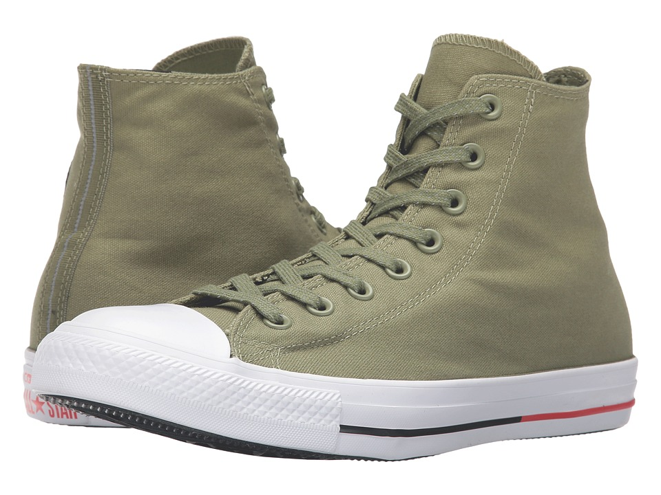 Converse - Chuck Taylor All Star Shield Canvas Hi (Fatigue Green/White/Signal Red) Lace up casual Shoes