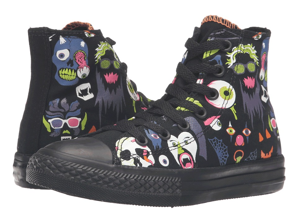 Converse Kids Chuck Taylor All Star Hi (Little Kid/Big Kid) (Black/Bold Lime/Black) Girls Shoes
