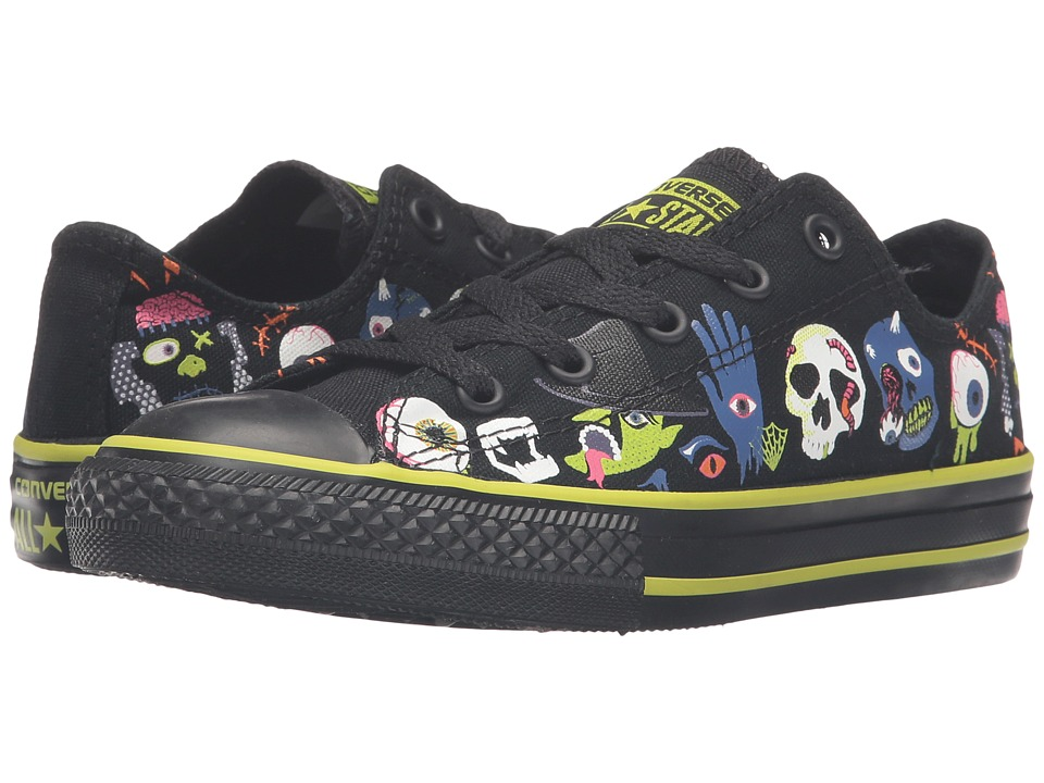 Converse Kids Chuck Taylor All Star Ox (Little Kid/Big Kid) (Black/Bold Lime/Black) Girls Shoes