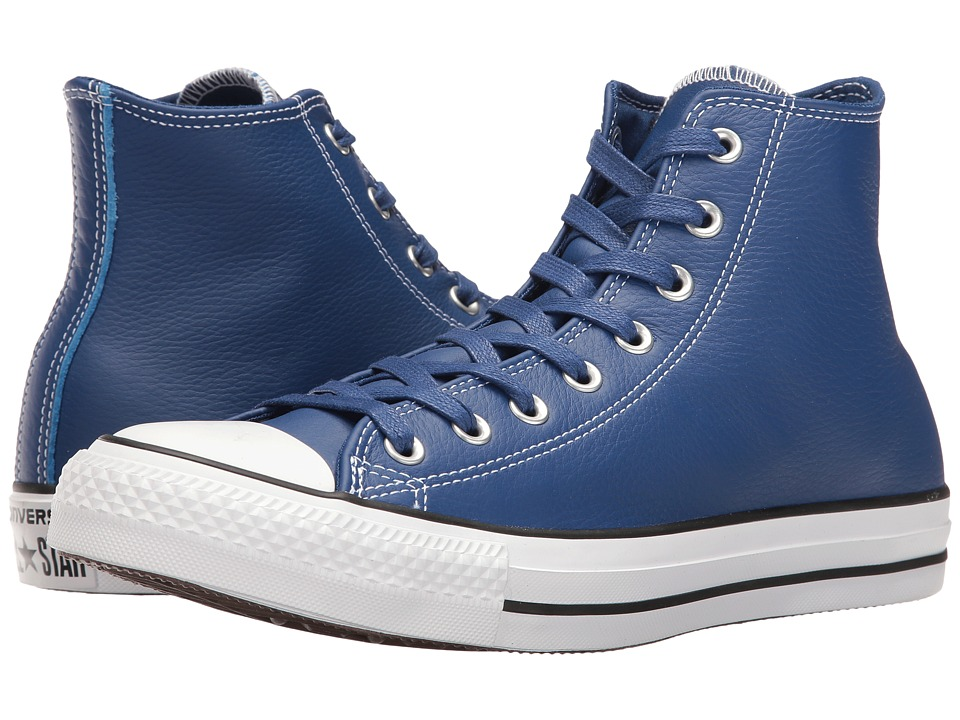 Converse - Chuck Taylor All Star Leather Hi (Roadtrip Blue/Casino/White) Shoes