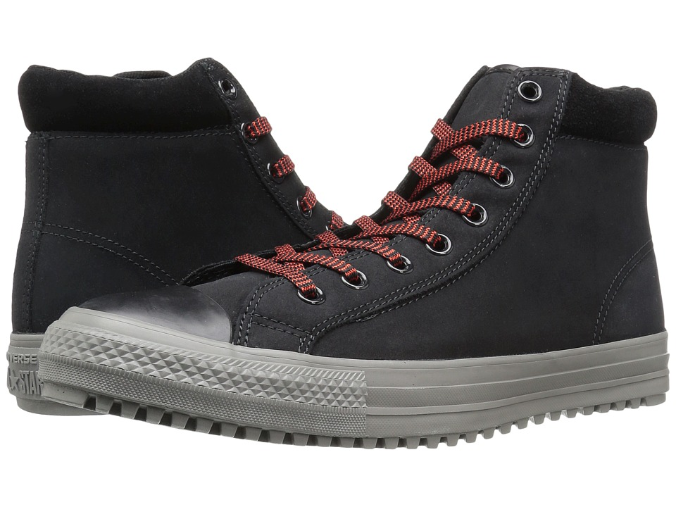Converse - Chuck Taylor All Star Boot PC Coated Leather Hi (Black/Charcoal Grey/Signal Red) Men's Lace-up Boots