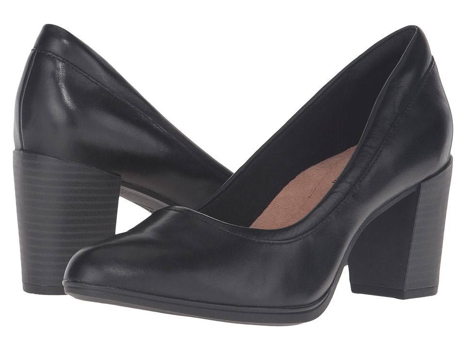Clarks - Araya Moon (Black Leather) Women's 1-2 inch heel Shoes
