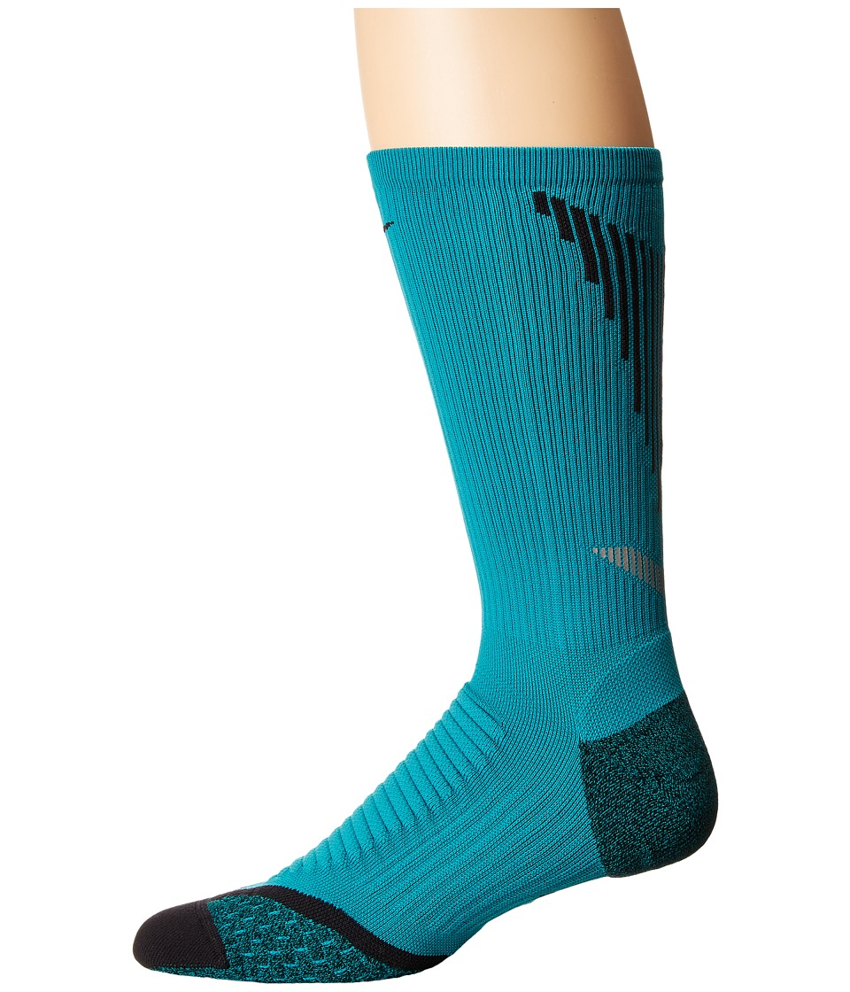 Nike - Elite Running Cushion Crew (Rio Teal/Black/Black) Crew Cut Socks Shoes