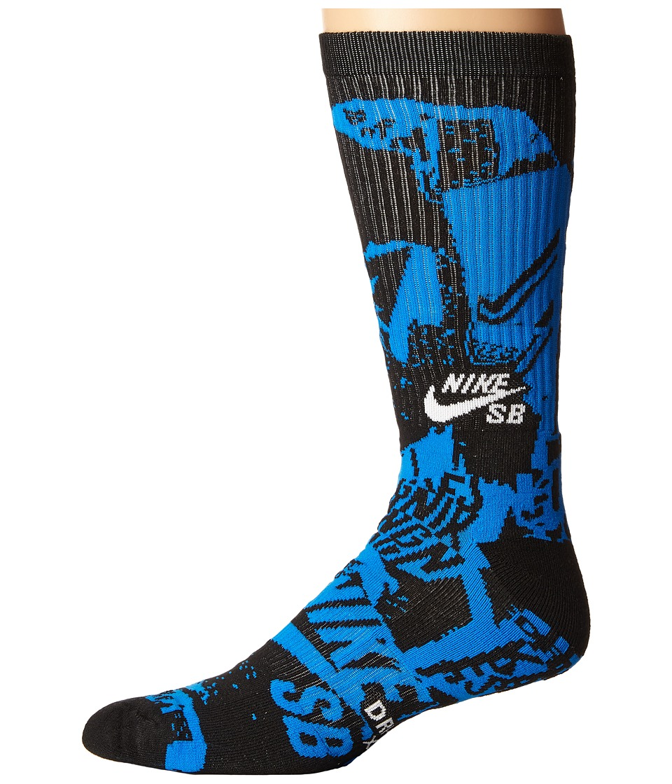 Nike SB - Graphic Crew Socks (Black/Photo Blue/Volt) Crew Cut Socks Shoes