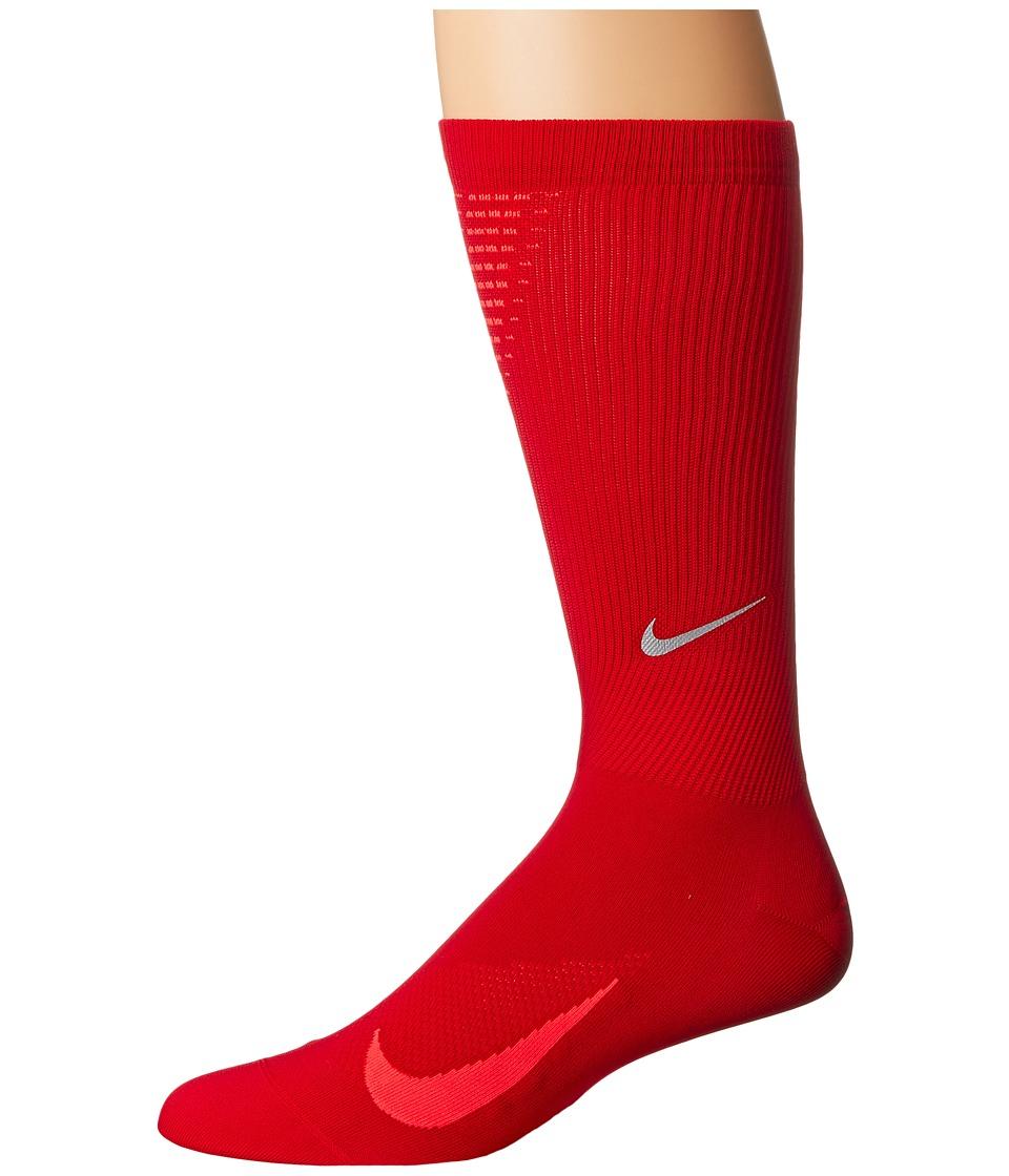 Nike Elite Run Lightweight 2.0 Crew (Gym Red/Bright Crimson) Crew Cut Socks Shoes