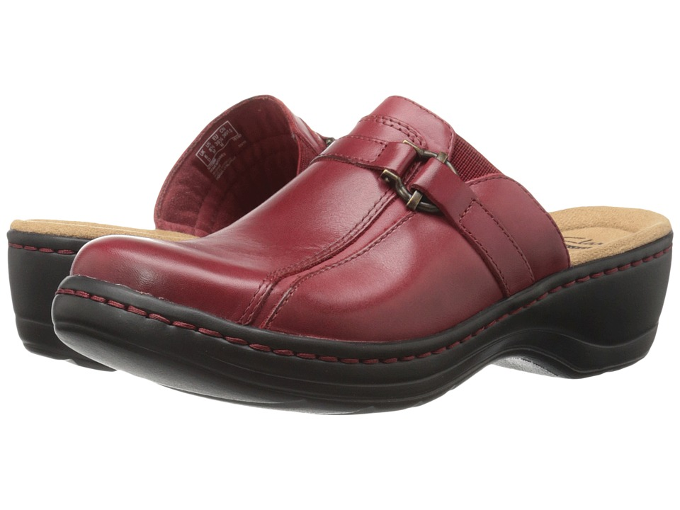 Clarks - Hayla Marina (Red Leather) Women's Clog Shoes