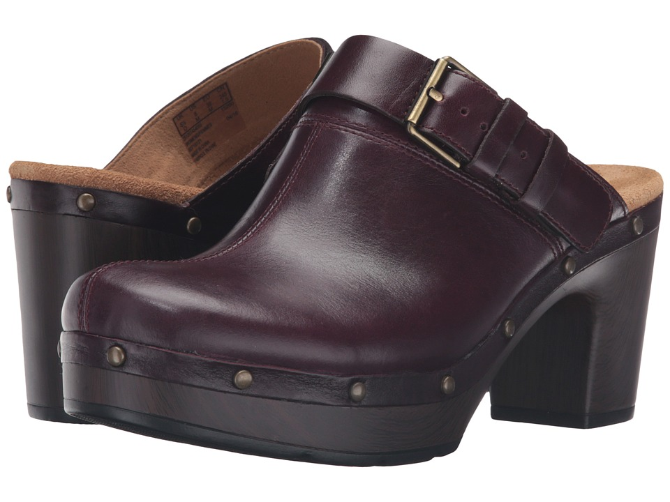 Clarks - Ledella York (Aubergine Leather) Women's Clog Shoes