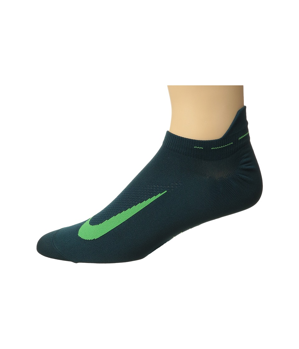 Nike - Elite Running Lightweight No Show (Midnight Turquoise/Green Spark/Green Spark) No Show Socks Shoes