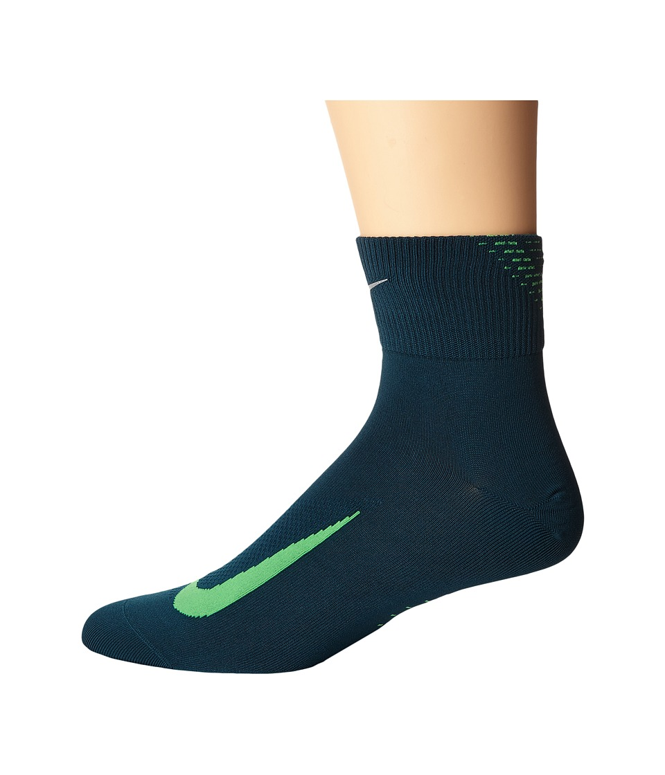 Nike - Elite Run Lightweight 2.0 Quarter (Midnight Turquoise/Green Spark) Quarter Length Socks Shoes